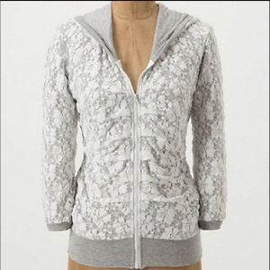 anthropologie • Gray White Lace Zip Hoodie Jacket